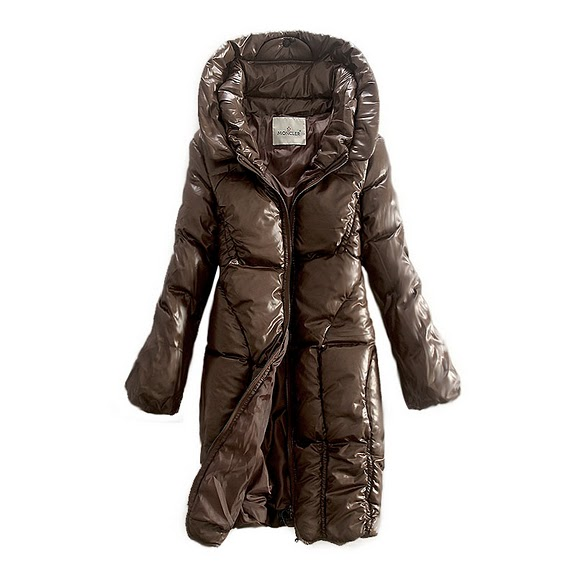 NEW! Moncler women long coats brown zip style