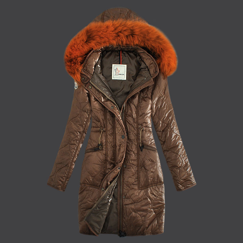 Moncler Long Winter Coat Women Hood Brown
