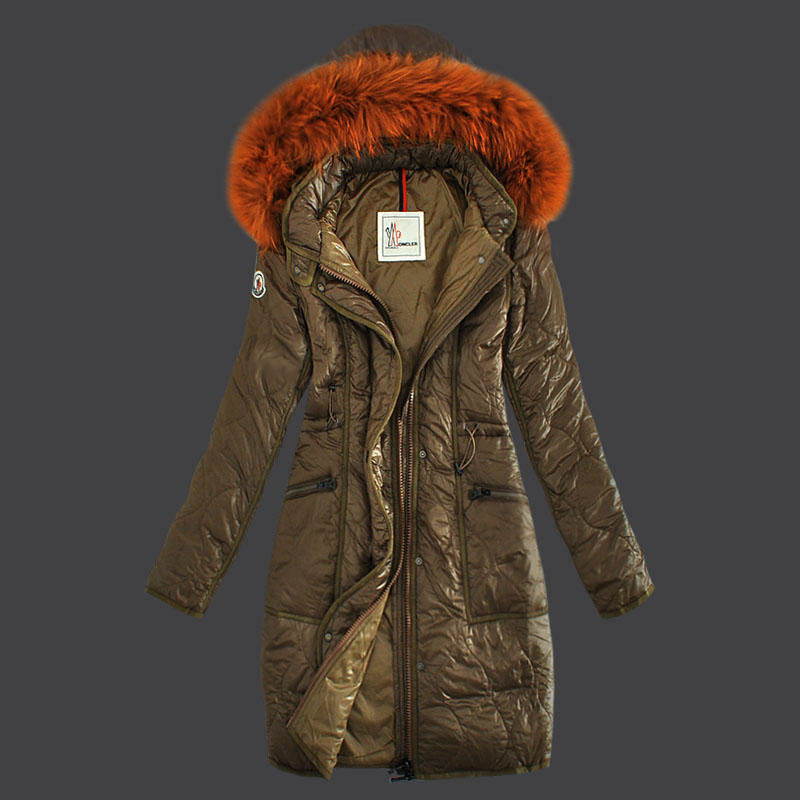 Moncler Long Winter Coat Women Hooded Gray