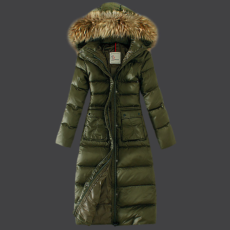 Moncler Women Long Coat Fur Hat Green