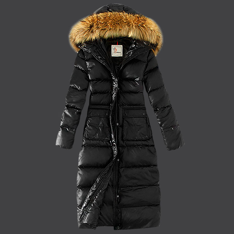 Moncler Women Long Fur Coat Hat Black