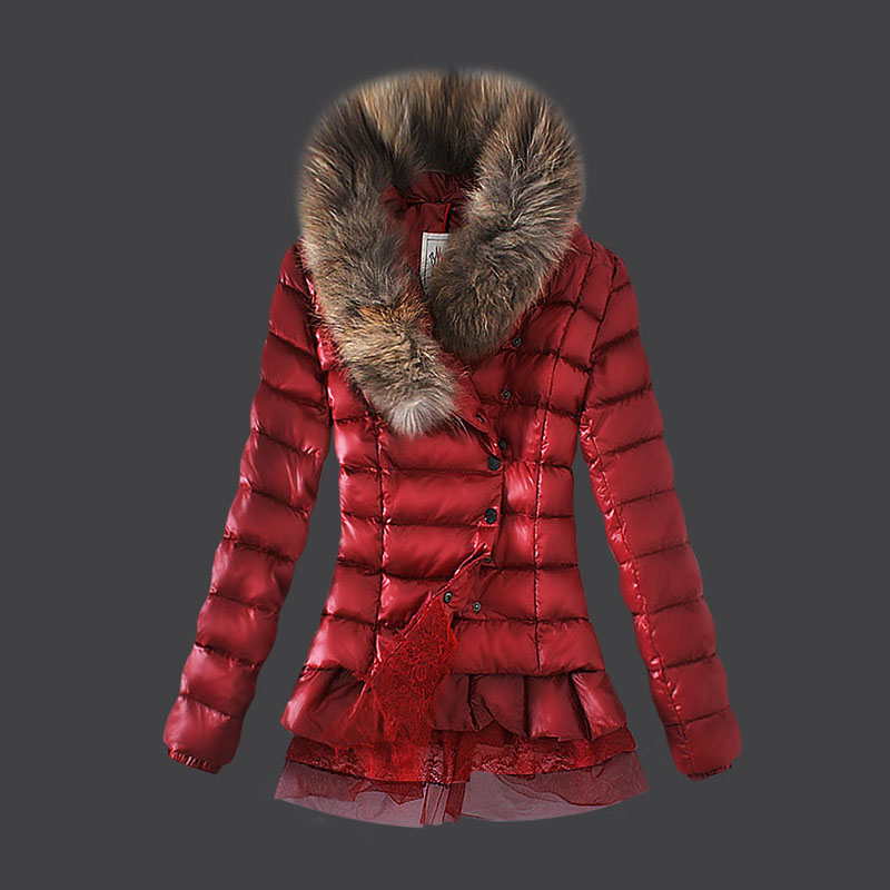 NEW! Moncler Women's Coats Fur Collar Jackets Red