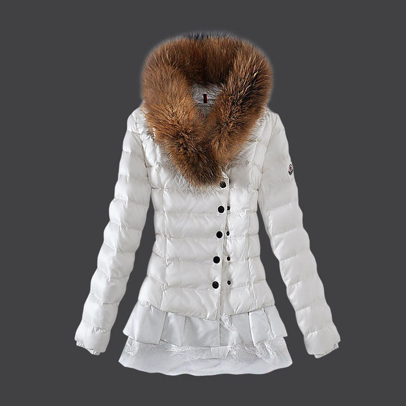 NEW! Moncler Women's Coat White Fur Jacket