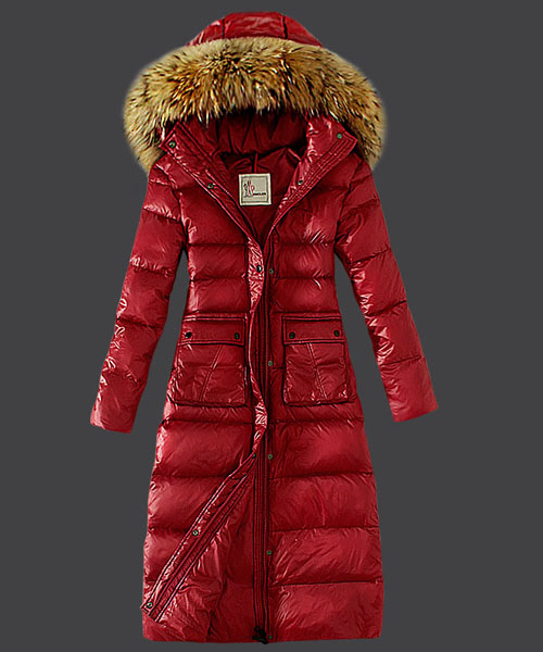 Moncler Down Coat Featured Women Slim Windproof Red