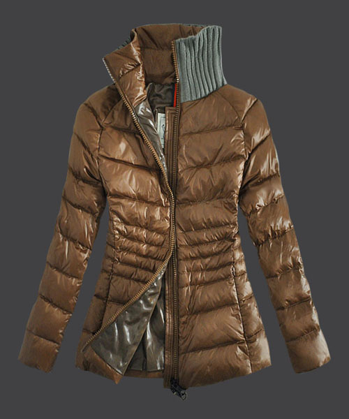 Moncler Down Jackets For Womens Zip Stand Collar Light Tan