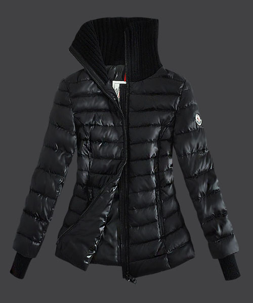 Moncler Down Jackets Womens Stand Collar Zip Black