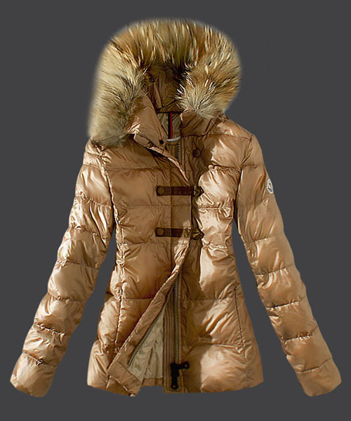 Moncler Fashion Down Women Jacket Fur Collar Light Tan