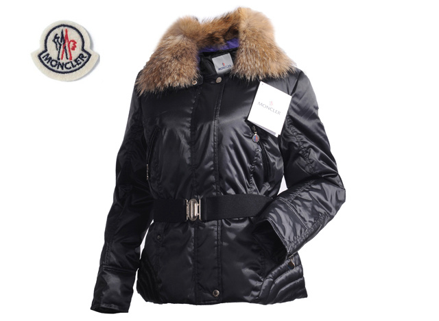 Moncler Faucon Women Down Jacket Zip With Belt Black