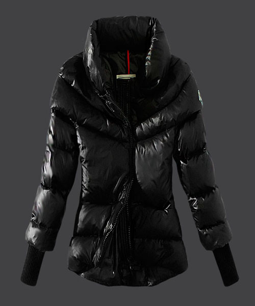 Moncler Windproof Womens Jackets Stand Collar Black