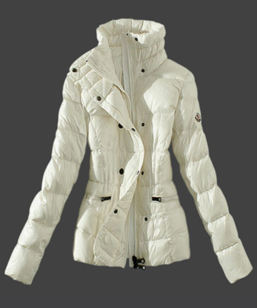 Moncler Womens Down Jackets Stand Collar White