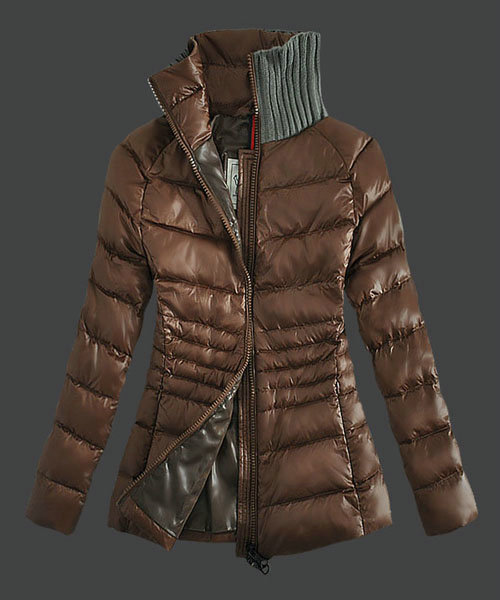 Moncler Down Jackets For Womens Zip Stand Collar Coffe