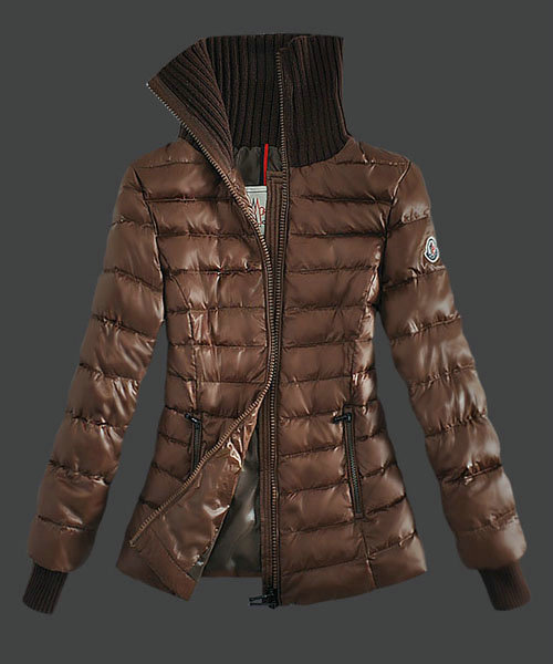 Moncler Down Jackets Womens Stand Collar Zip Coffee