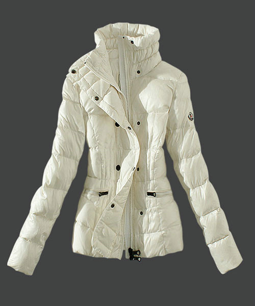 Moncler Womens Down Jackets Stand Collar Slim White