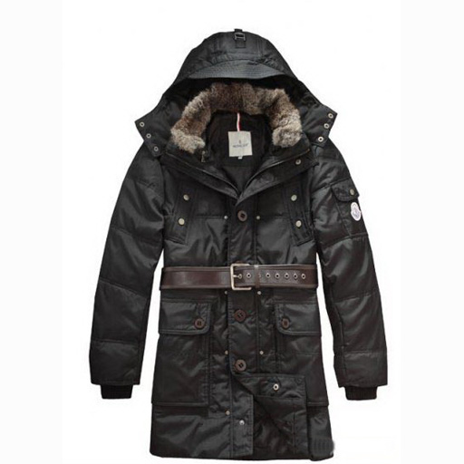 Moncler Casual Mens Coat Hooded With Belt Black For Sale