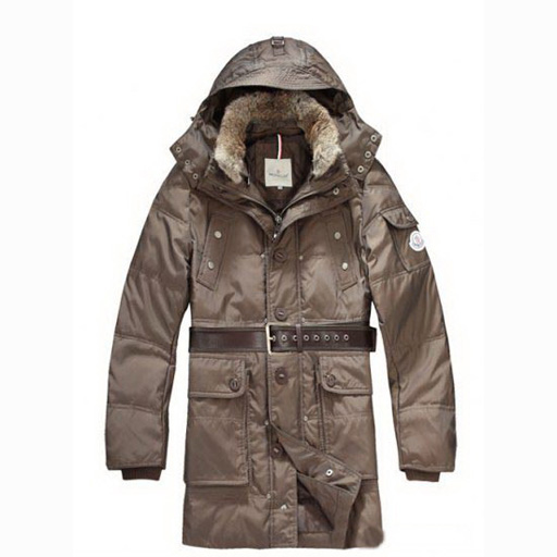 Moncler Casual Mens Coat Hooded With Belt Coffee For Sale