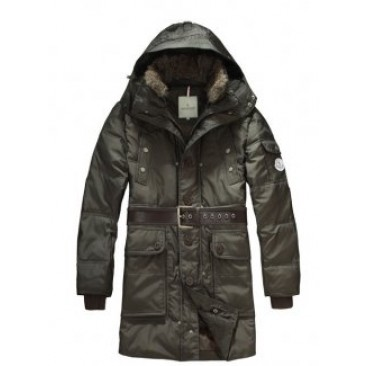 Moncler Casual Mens Coat Hooded With Belt Green For Sale