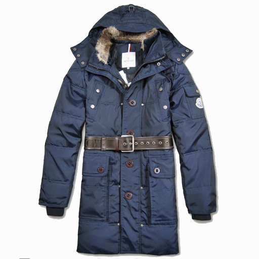 Moncler Casual Mens Coat Hooded With Belt Navy For Sale