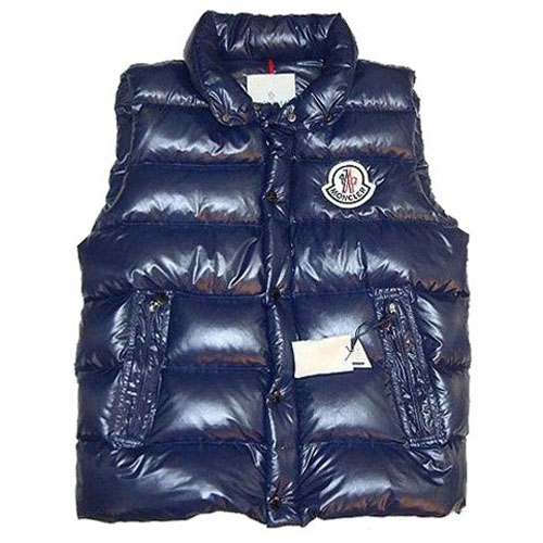 Moncler Clairy Mens Shiny Vest Blue For Sale