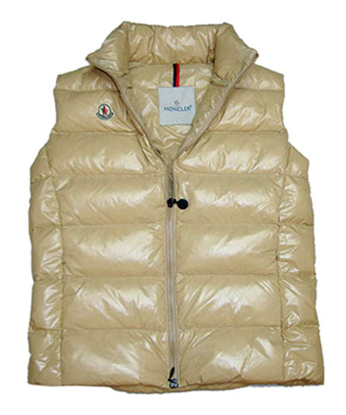 Moncler Down Sleeveless Vest Women Zip Beige