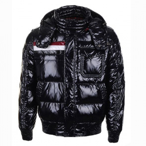 Moncler Fluffy Men Hooded Jacket Black For Sale