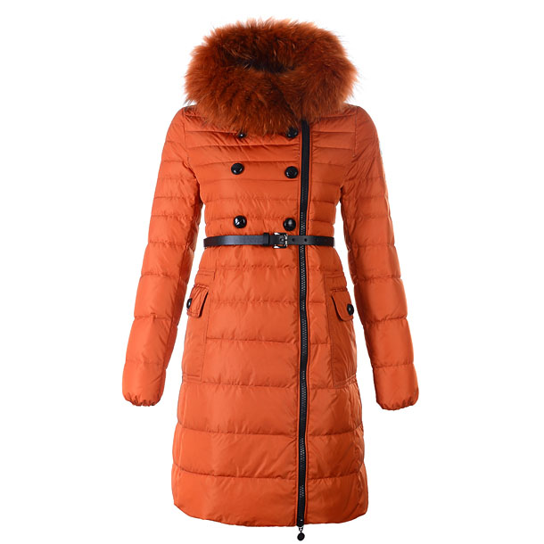 Moncler Herisson Women Coat With Belt Orange For Sale
