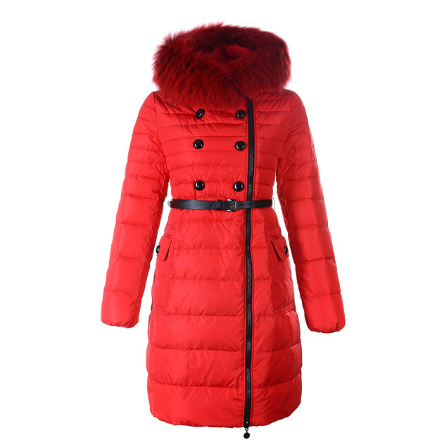 Moncler Herisson Women Coat With Belt Red For Sale