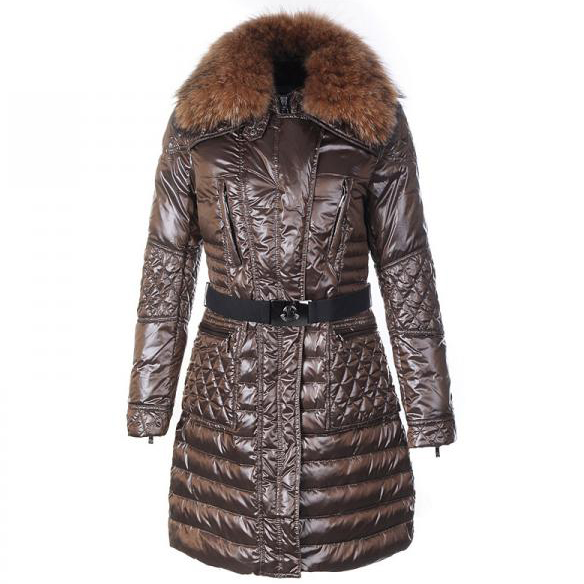 Moncler Maillol Women Coat With Belt Coffee For Sale