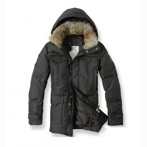 Moncler Men Coat Hooded Fur Down Black For Sale