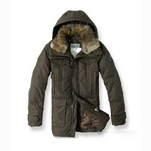 Moncler Men Coat Hooded Fur Down Chestnut For Sale