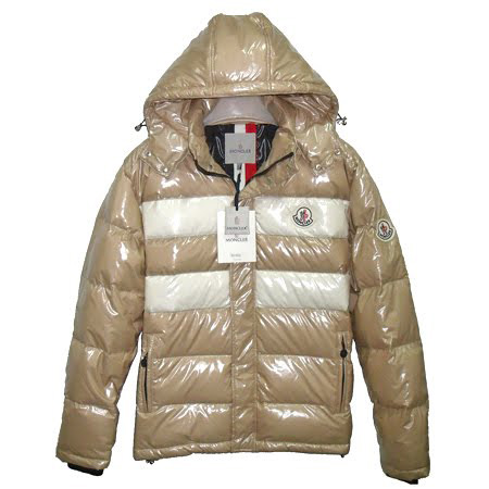Moncler Men Hooded Jacket Double Stripes Beige For Sale