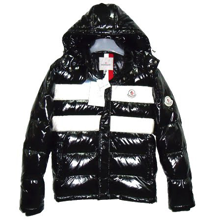 Moncler Men Hooded Jacket Double Stripes Black For Sale
