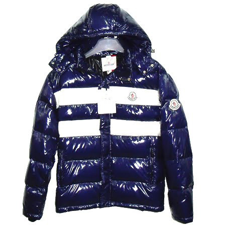 Moncler Men Hooded Jacket Double Stripes Navy Blue For Sale