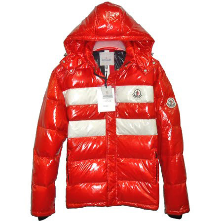 Moncler Men Hooded Jacket Double Stripes Red For Sale