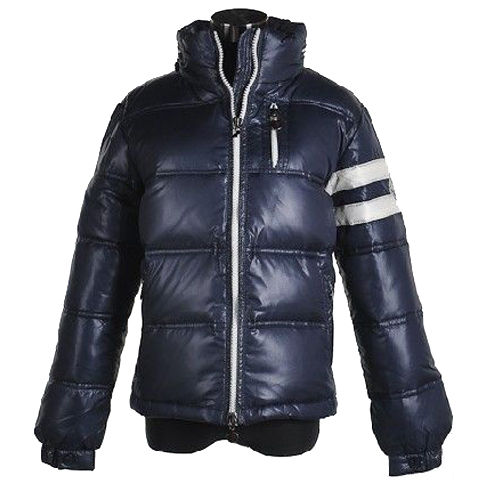 Moncler Men Jacket Double Stripes Navy Blue For Sale