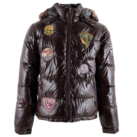 Moncler Men Multi Logo Jacket Brown For Sale