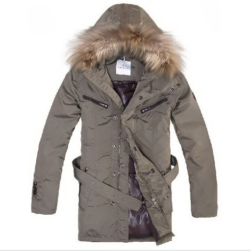 Moncler Mens Long Coat Apricot For Sale