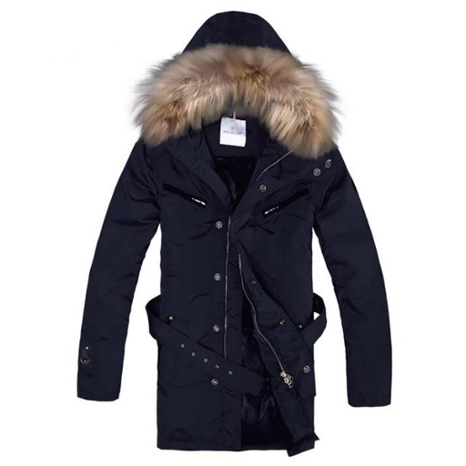 Moncler Mens Long Coat Blue For Sale
