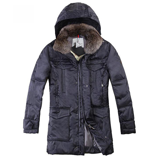 Moncler Mens Long Coat Indigo For Sale