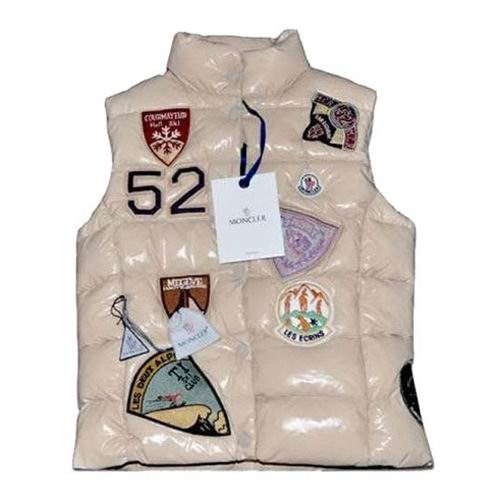 Moncler Mens Vest Multi Logo Beige For Sale