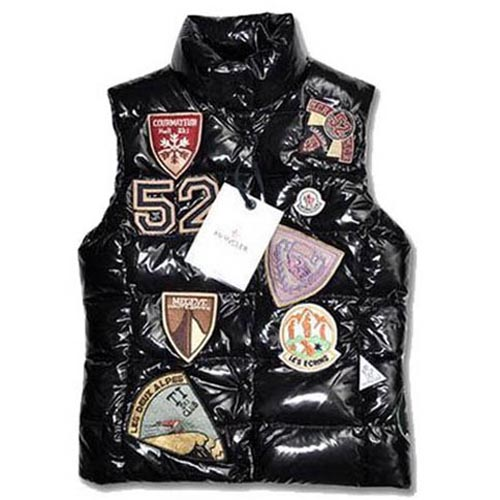 Moncler Mens Vest Multi Logo Black For Sale