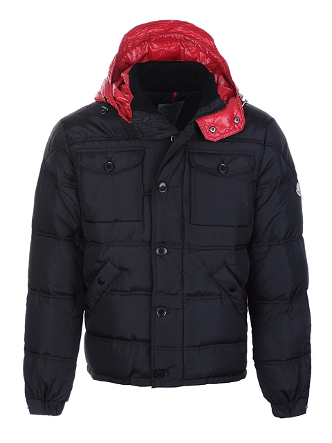 Moncler Republique Men Jacket Black Red For Sale