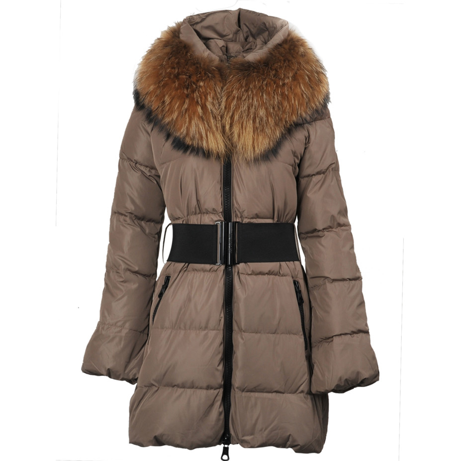 Moncler Sauvage Women Coat Fur Brown For Sale