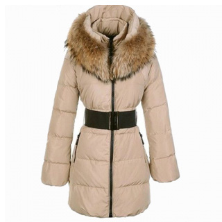 Moncler Sauvage Women Coat Fur Khaki For Sale