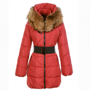 Moncler Sauvage Women Coat Fur Red For Sale