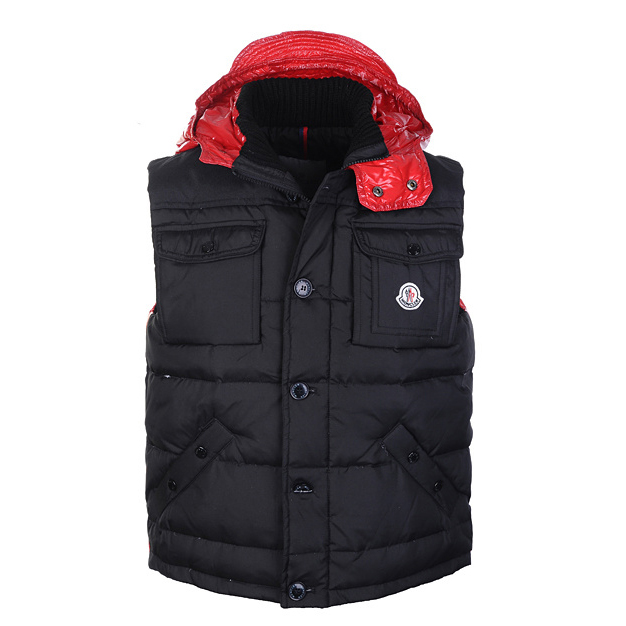 Moncler Tib Mens Vest Black Red For Sale