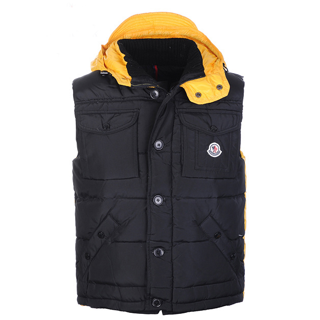 Moncler Tib Mens Vest Black Yellow For Sale