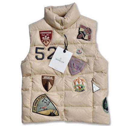 Moncler Women Vest Multi Logo Beige For Sale