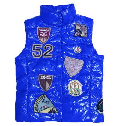 Moncler Women Vest Multi Logo Blue For Sale