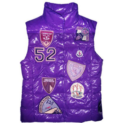 Moncler Women Vest Multi Logo Purple For Sale