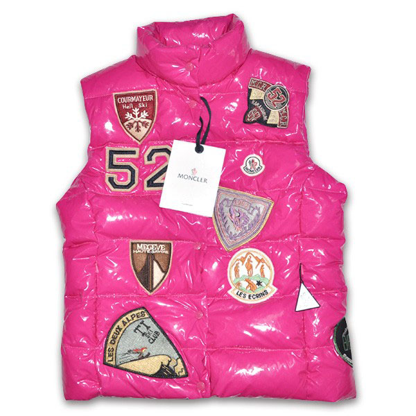 Moncler Women Vest Multi Logo Rosy For Sale